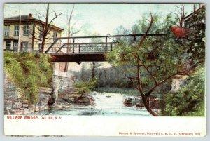 Oak Hill New York~Below Village Bridge~Pony Thru Truss Wagon Bridge~c1910 PC