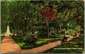 San Antonio, Texas Postcard TRAVIS PARK Benches / Pathways View 1910 Cancel
