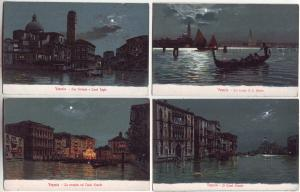 P942 old cards venezia venice italy night water views with moon and boats etc