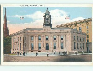 Unused W-Border CITY HALL SCENE Stamford Connecticut CT hs5942