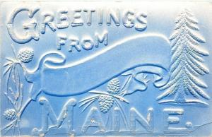 Maine Large Letter Greetings~Embossed~Airbrushed~Banner, Pine Cones & Trees~1909