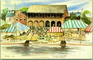 Annapolis, Maryland Postcard HARBOUR HOUSE RESTAURANT Artist-Signed View - 1966