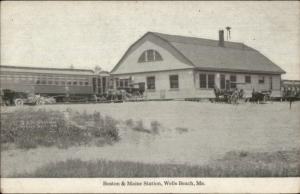 Wells Beach ME B&M RR Station Train Depot c1915 Postcard
