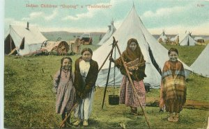 C-1910 Chinook Montana Indian Children Guying Tenderfood Postcard 21-8734