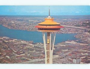 Unused Pre-1980 CLOSE-UP OF TOP OF SPACE NEEDLE Seattle Washington WA E7275