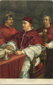 Art postcard Raffaello - Pope Leo X and the Cardinals Giulio De`Medici and Luigi
