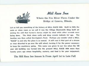 Unused 1950's MILL RACE INN Geneva - Near Chicago Illinois IL c6004