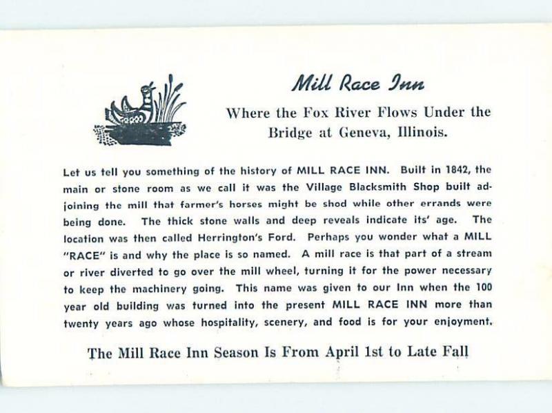 Unused 1950's MILL RACE INN Geneva - Near Chicago Illinois IL c6004