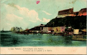 Vtg Postcard Havana Cuba 1900s Fort Cabana and Harbor Santa Clara y Santiago UNP