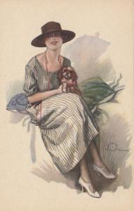 A. TERZI ; Art Deco Female Portrait with dog, 1910s ; #5