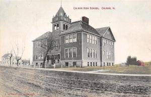 Calmar Iowa~Dirt Road by Calmar High School~Big Belltower 1910 PC
