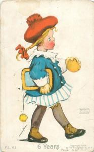 Katharine Gassaway Postcard 6 Years Schoolgirl with Red Hat 1907 Rotograph
