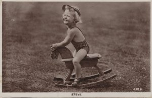 Child Boy On Toy Rocking Horse Name Called Steve RPC Postcard