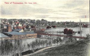 Thomaston ME View From Hill Bridge And Town Colored Postcard