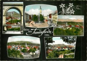 Germany Luftkurort TRAUNSTEIN Schonstgelegene Kreisstadt semi-modern postcard