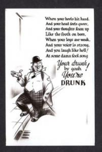 Drunk Man Poem Comic Postcard Real Photo RPPC