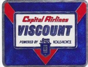 CAPITAL AIRLINES VISCOUNT VINTAGE LUGGAGE LABEL