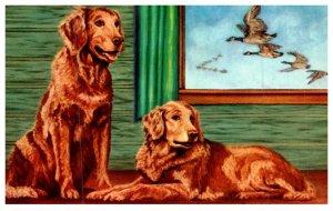 Dog  Golden Retriver , artist signed Lewis H.Larsen