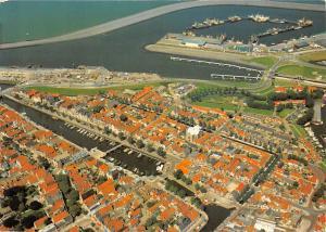 Netherlands Harlingen in Vogelvlucht Aerial view Harbor Boats Ship