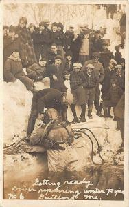 Guilford ME Deep Sea Diver Repairing Water Pipe RPPC Postcard