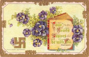 Greetings Shakespeare Book with Purple Pansies Flowers Swastika PC JE229676