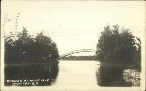Thousand Islands NY Bridge at Rose Island c1910 Real Photo Postcard