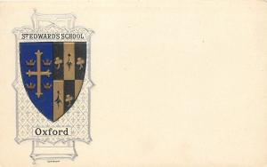 Oxford England~Stedward's School~Coat of Arms~Blue Gold Silver~Embossed~1907
