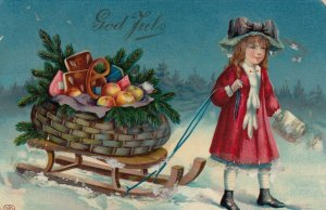 CHRISTMAS , 1912 ; Child Pulling a sled