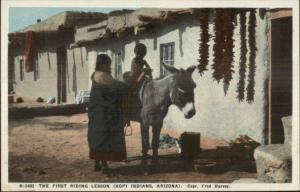 Fred Harvey H-2485 Hopi Indians Little Boy on Donkey c1920 Postcard