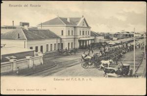 argentina ROSARIO, Estacion del F.C.B.A. y R., Railway Station, Horse Carts 1899