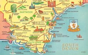 South Devon Map, South Hams, Dartmoort, Bovey Tracey, Newton Abbot