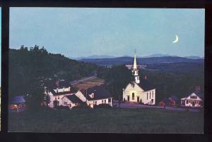 Lower Waterford, Vermont/VT Postcard, Moonlight Over White Village