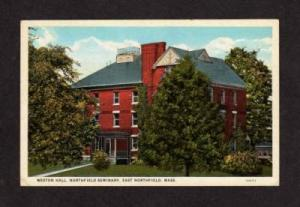 MA Weston Hall EAST NORTHFIELD Seminary MASS POSTCARD