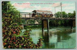 Fort Riley KS Interurban~Electric Trolley Car on Bridge Over Republic River~1909