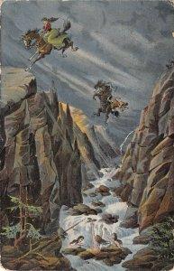 US3041 Die Sage von der Rosstrappe Horses Jumping Over Cliff thale patriotic