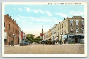 Columbus Wisconsin~James Street~Corner Drug Store~Church Distance~1920s