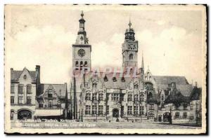 Postcard Dixmude Old Town Hall Tower & # 39eglise