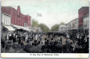 Belmond, Iowa Postcard A Big Day July 4th Main Street Scene - 1912 Cancel