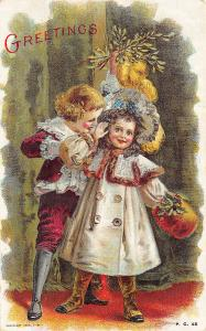 Unsigned Maude Humphrey 1908 Boy and Girl Greetings Postcard