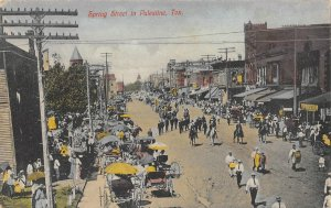 PALESTINE, TX Spring Street Parade Scene c1910s Vintage Hand-Colored Postcard