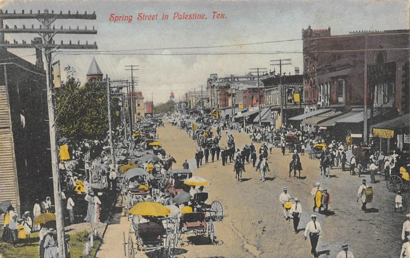 PALESTINE, TX Spring Street Parade Scene c1910s Vintage Hand-Colored Postcard
