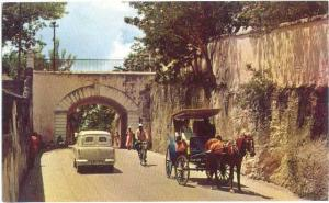Gregory Arch Entrance to Old Nassau, Nassau Bahamas  Pre-zip Code Chrome