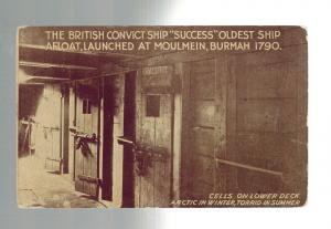 Mint Vintage England Convict Ship Success Real Picture Postcard Cells Below Deck