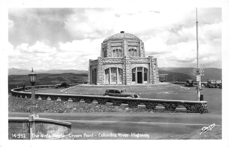 Columbia River Highway Oregon~Vista House @ Crown Point~Telephone Sign~40s RPPC