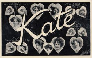 A Girls Named Called KATE Old Theatre Star Actress Name RPC Postcard