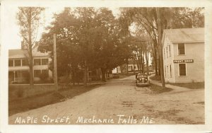 Mechanic Falls ME Maple Street Print Shop Old Car Real Photo Postcard