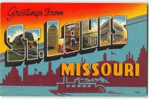 ST. LOUIS, MISSOURI c1940 Large Letter Linen Postcard - Riverboat Silhouette