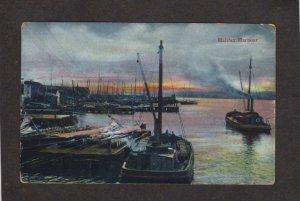 NS Vintage Ships Boats Harbour Harbor Halifax Nova Scotia Carte Postale Canada