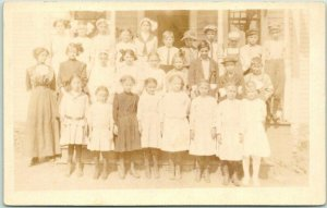 1910s RPPC Photo Postcard CLASS PHOTO School Children Teacher Oswego, Kansas