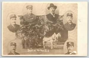 Peru Indiana~Fire Department of '95~6 Firemen Insets~Horse Wagon~c1910 RPPC